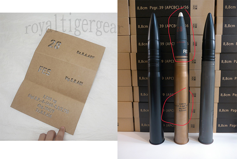 WW2 Germany 8.8cm 88mm Pzgr.39 (APCBC) L/56 Armor Piercing Gun Sheel Stencils