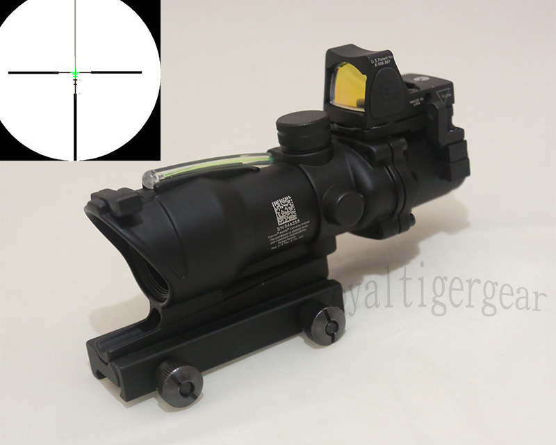 ACOG style 4X Scope - Green Illuminated Optic Fibre w/ Red Dot RMR Sight - Black