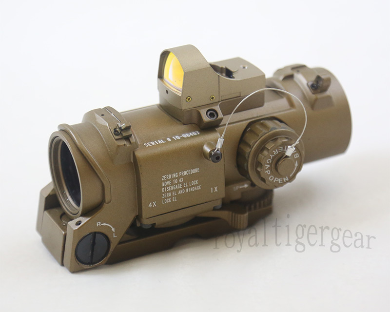 ELCAN SpectorDR style 4X Scope Red Dot Sight w/ Red Dot Reflex Sight - Metal Dark Earth